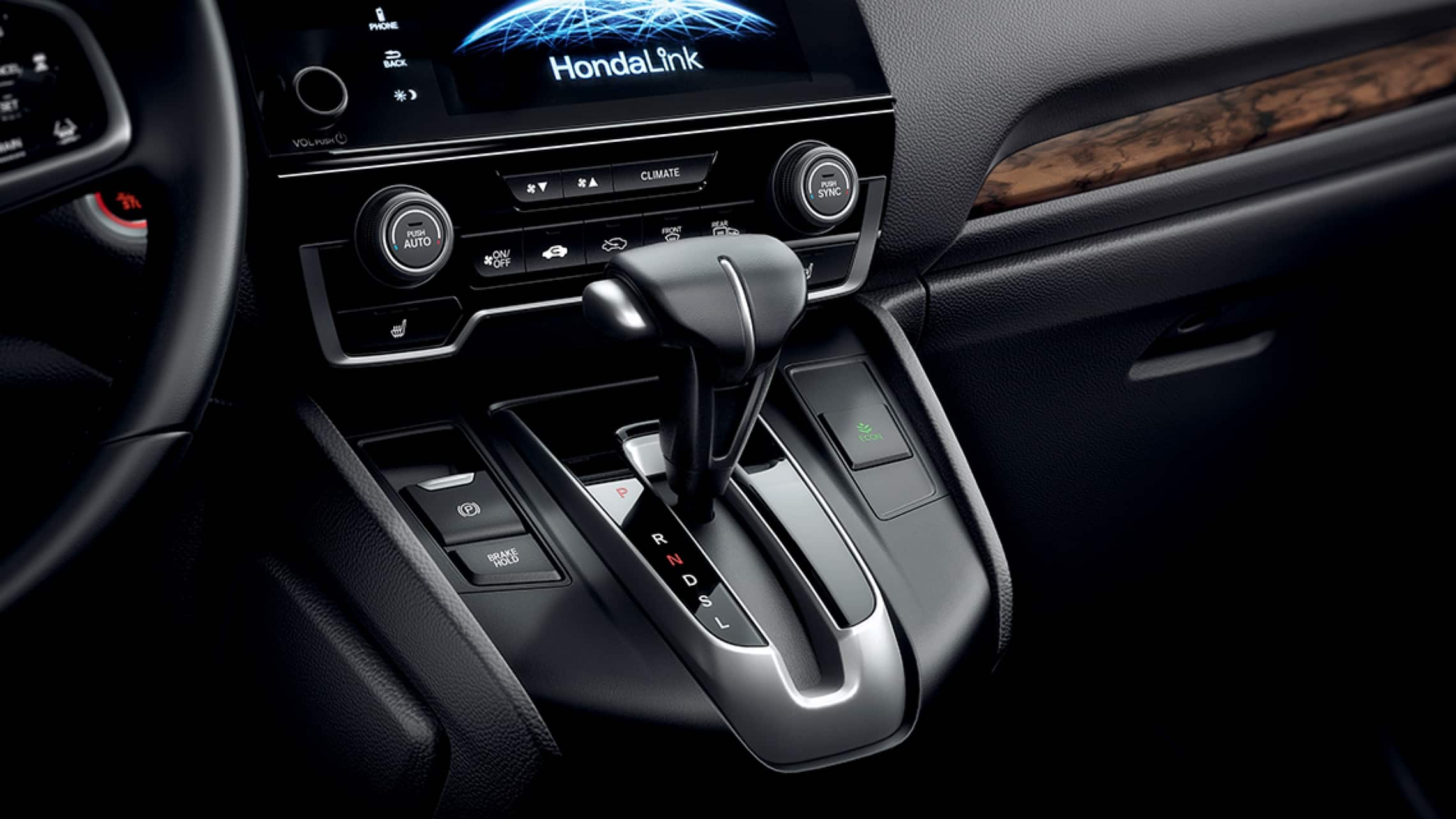 2019 Honda CR-V interior view of electric parking brake.