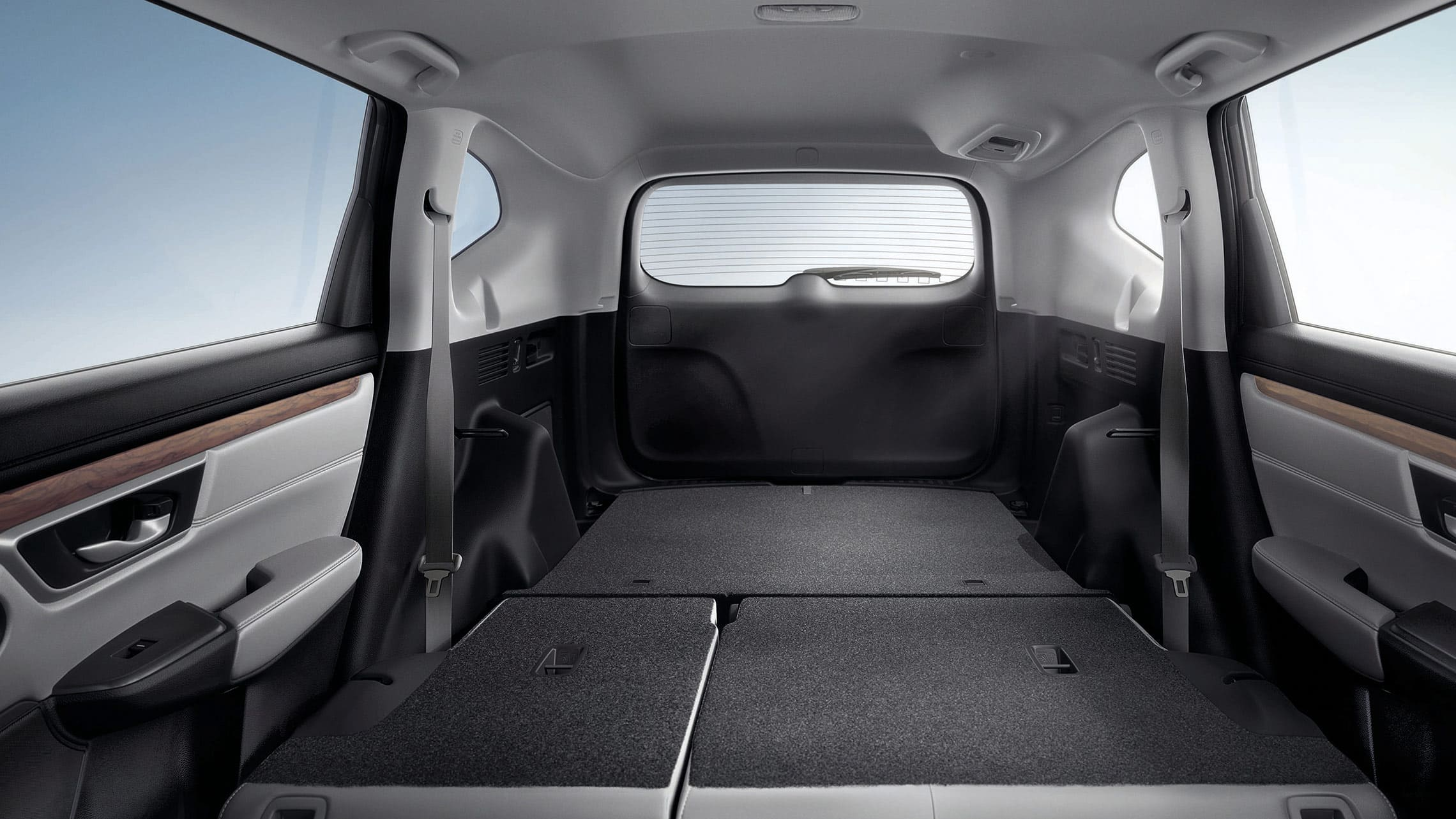2019 Honda CR-V interior cargo view of easy fold-down 60/40 split rear seatback.