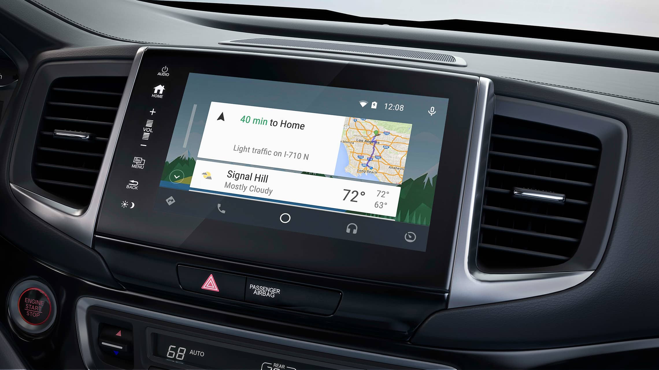 Android Auto integration displayed on Display Audio touchscreen in the 2020 Honda Ridgeline.